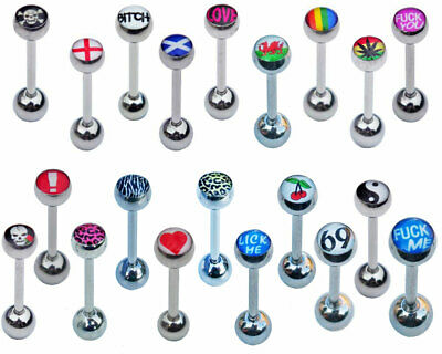 Picture Tongue Bars 12mm 14mm 16mm 18mm  Word Barbells • 2.85£
