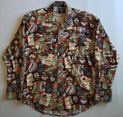 $19.49 • Buy Vintage Jack Daniels Whiskey Old No 7 Snap Button Long Sleeve Shirt Mens Large