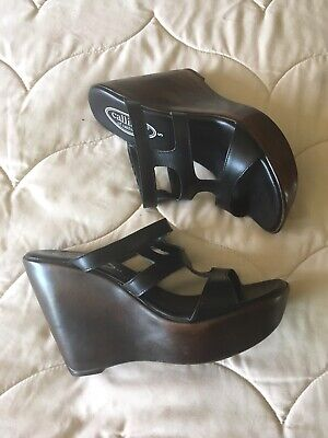 $13 • Buy Womens Callisto Black Leather Wedge Sandals Size 5(M)