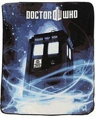 Doctor Who Dr Police Call Box TARDIS Gallifrey Plush Fleece Throw Blanket BBC TV • 14.65£
