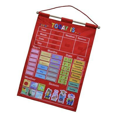Red MY CALENDAR FABRIC LEARNING CHART CRAFTS  • 11.51£
