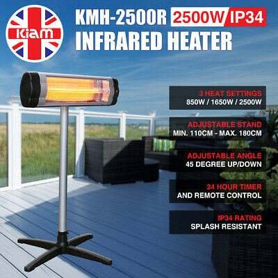 2.5KW Outdoor Electric Patio Heater Garden Free Standing Infrared Waterproof • 79.95£