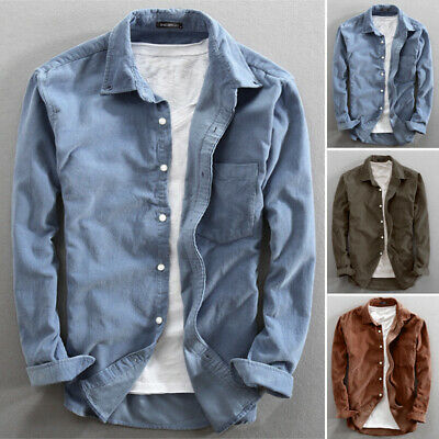 UK STOCK Mens Corduroy Tops Buttons Open Casual Loose Long Sleeve Shirt Blouse • 11.99£