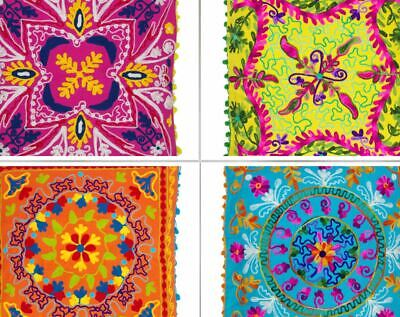 £12.99 • Buy Indian Home Decor Floor SUZANI Woolen Embroidered Cushion Covers 16''/ 18''/ 20'