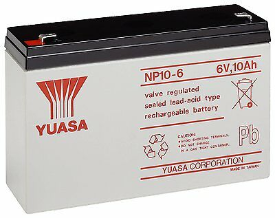 AU59.43 • Buy 2 X YUASA NP10-6 6V 10AH VRLA Battery Feber Peg Perego Injusa Toy Car Quad Bike