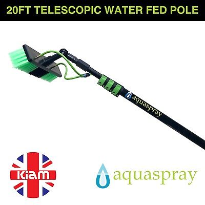 Window Cleaning Pole Lightweight 20ft Telescopic Water Fed Brush Cleaner Home • 129.90£