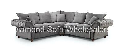 Sofa Windsor Corner, 4 Seater, Armchair,Footstool - Charcoal Grey / Stone Fabric • 839£