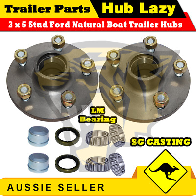 AU52.98 • Buy Trailer Hub Ford 5 Stud Pattern Lazy Hub With LM Bearings Kit Complete / Pair