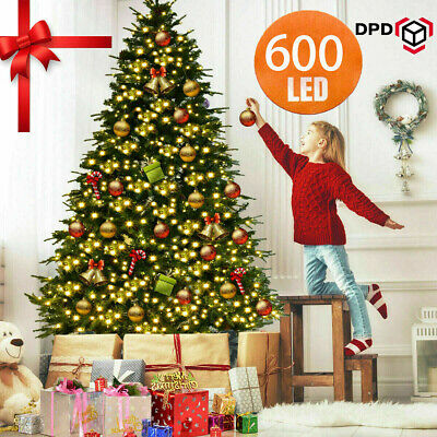 600 LED Christmas Tree Artificial Deluxe Warm White Lights Decor W/Stand 5/6/7ft • 39.99£