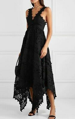 NEW Zimmermann Design BLACK Corsage Embellished Asymmetric MIDI Dress Size 0,1,2 • 420$