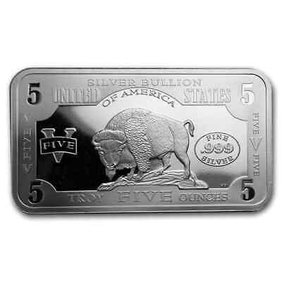 $ CDN196.02 • Buy 5 Oz Silver Bar - 1901 $10 Bison - SKU#186870