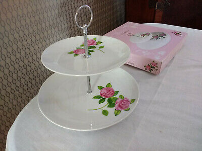Porcelain/China Rose Flower 2 Tier Cake Plate Stand  • 15.95£