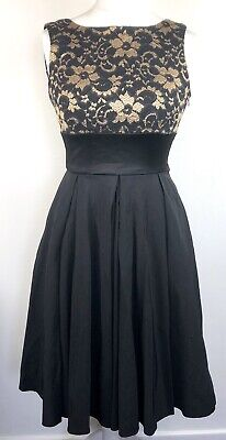 £34.99 • Buy The Pretty Dress Company Black & Gold Lace Swing Skater Dress Size 10 Bow Ball