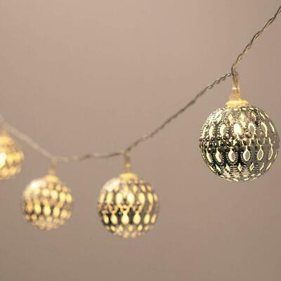 20LED Battery Powered Warm White Silver Moroccan Orb LED Fairy Decoration Lights • 8.99£