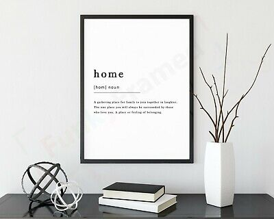 Home Definition Noun Print Framed Typography Poster Black White WordArt Picture  • 2.99£