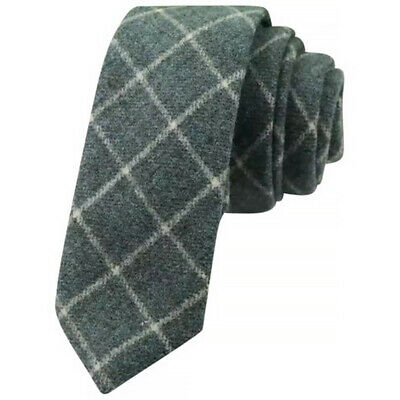 Country Green Check Mens Tweed Wool Skinny Tie. Excellent Quality & Reviews. UK. • 12£