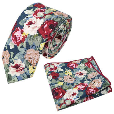 New Blue Floral Cotton Skinny Tie & Pocket Square Set. Great Reviews. UK. • 11£