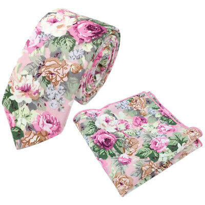 New Pink Floral Cotton Skinny Tie & Pocket Square Set. Great Quality & Reviews. • 11£