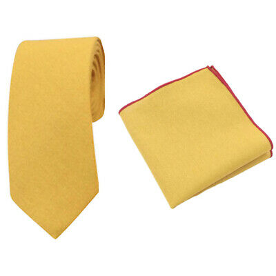 Mustard Yellow Cotton Skinny Tie & Pocket Square Set. Great Quality & Reviews. • 12£
