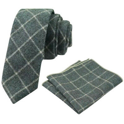 Country Green Check Tweed Wool Skinny Tie & Pocket Square Set. Great Reviews. • 12£