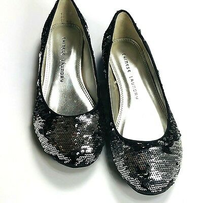 $19.94 • Buy Chinese Laundry Good Times Womens Shoes Size 5.5 M  Black Silver Sequin Flats