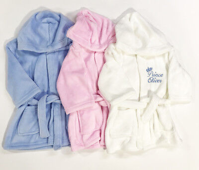 £14.99 • Buy Personalised Baby Robe Bath Embroidered Dressing Gown Boy Girl Gift Crown Soft
