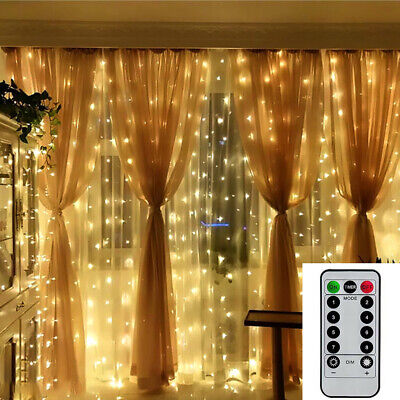 300 LED Fairy String Lights In/Outdoor Curtain Window Wedding Decor & Controller • 9.35£