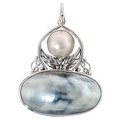 $35.95 • Buy 2 1/8  NAUTILUS SHELL SOUTH PACIFIC WHITE MABE PEARL 925 STERLING SILVER Pendant