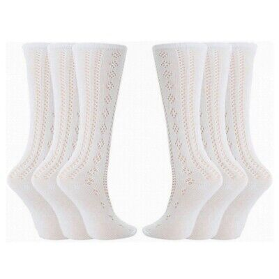 Girls Pelerine Socks Cotton Rich 3/4 Long School Knee High White 1 2 3 6 Pairs • 3.99£
