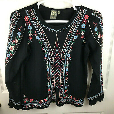 $ CDN39.09 • Buy Anthropologie One September Wesley Embroidered Shirt Black Floral Size Small
