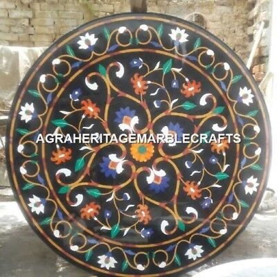 AU2381.94 • Buy Black Marble Top Dining Table Mosaic Inlay Rare Stone Arts Marquetry Decor H3132