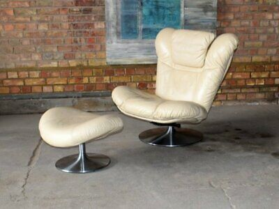 G PLAN LEATHER CHAIR And STOOL - London & Local Delivery Options • 440£