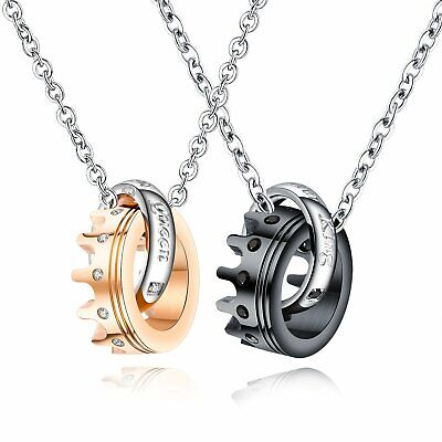 $11.99 • Buy 2pcs Her King His Queen Stainless Steel Crown CZ Lover Couple Necklace Men Women