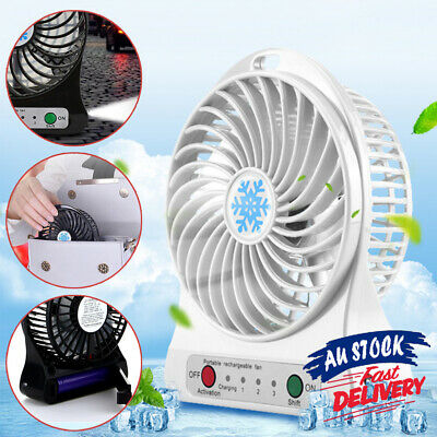 AU10.99 • Buy Portable Operated USB Battery Fan LED Light Mini Air Charging Cooler