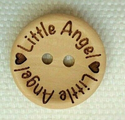 £3.48 • Buy 5 Natural Wooden Little Angel Baby Girl Boy Buttons 2 Hole 20mm Sewing UK
