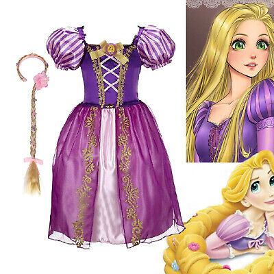 Kids Girls Tangled Rapunzel Princess Fancy Dress Up Costume Outfit With Wig • 10.99£