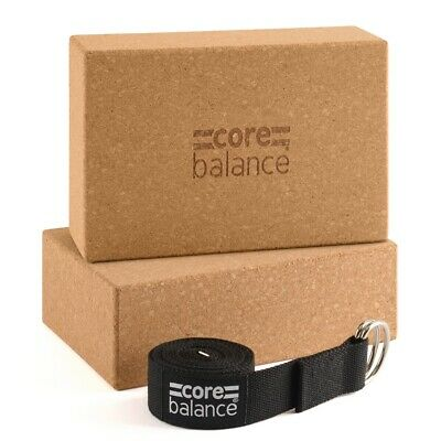 Yoga Block Strap Set Cork Brick With D Ring Stretch Belt Core Balance • 17.99£