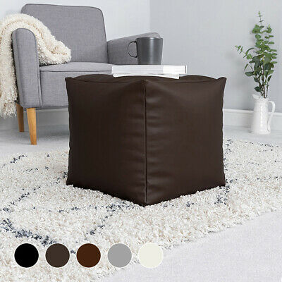 Faux Leather Bean Bag Cube Footstool Beanbag Pouffe Seat Foot Stool • 27.99£