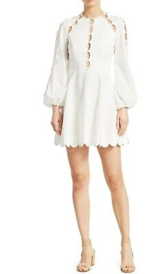 NEW Zimmermann Goldie Design V Neck Long Sleeve MINI Dress WHITE 0,1,2 • 253$