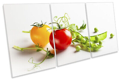Tomato Runner Beans Kitchen Print CANVAS WALL ART TREBLE Picture Multi-Coloured • 44.99£