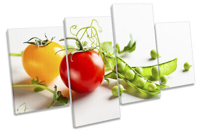 Tomato Runner Beans Kitchen Print MULTI CANVAS WALL ART Picture Multi-Coloured • 42.99£