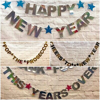 £4.49 • Buy Happy New Years Eve Banners 2021 Party Decorations Bunting Gold Silver