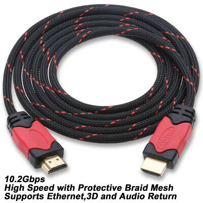 $ CDN8.22 • Buy Braided Ultra HD HDMI Cable - 3ft 6ft 10ft 15ft 25ft 30ft For BLURAY 3D DVD PS4