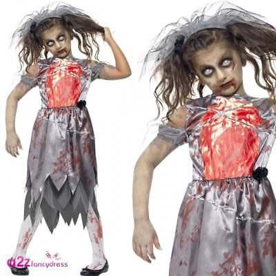 Girls Zombie Bride Kids Childs Halloween Fancy Dress Costume Size 13-14 Years • 6.99£