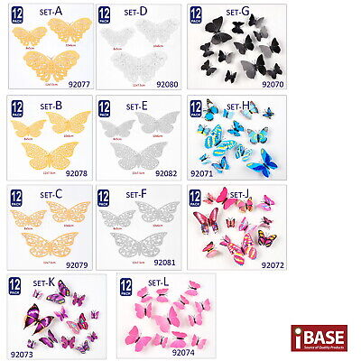 AU12.99 • Buy 48PCS 3D Butterfly Wall Removable Sticker Decals Kids Art Nursery Self-adhesive