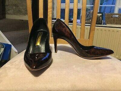 Rupert Sanderson Patterned Shiny Brown Court Shoe With High Heel Size 36.5 • 25£