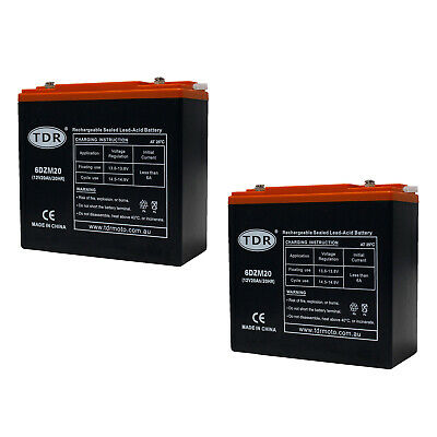 AU119.65 • Buy 2pcs 12v 20ah Battery Agm Sla 12 Volt Deep Cycle Jet Ski Golf Buggy >17ah 18ah