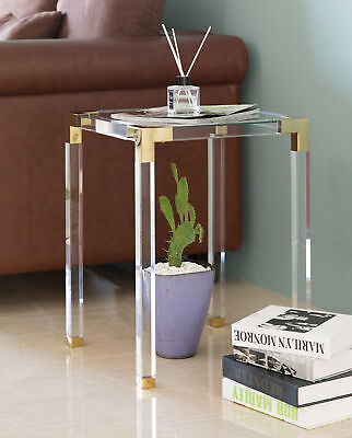 $455 • Buy New Bold Tones Square Acrylic Gold Metal Modern Tempered Glass End Side Table