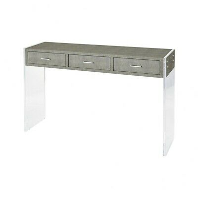 $369.72 • Buy Rectangular Console Table In Grey Faux Shagreen, Clear Acrylic Finish With Sled