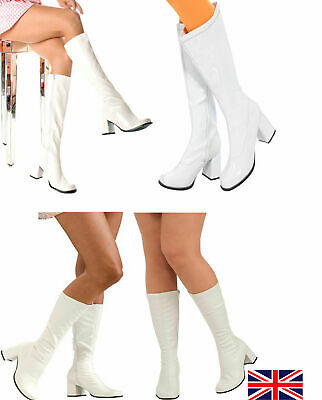 New Knee High Boots - 60's 70's Go Go Fashion Boots White Patent - Size 3-9 UK  • 21.99£